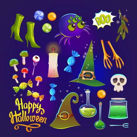 Halloween witches set with funny and scary objects. Vector illustration of eyes, potion, toadstool, candy, chicken feet, hat and boots in cartoon style. Illustration