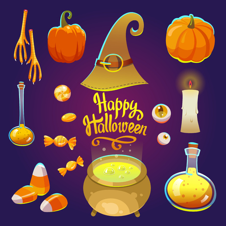 Halloween witches set with funny and scary objects. Vector illustration of eyes, potion, pumpkin, candy, chicken feet, hat in cartoon style.