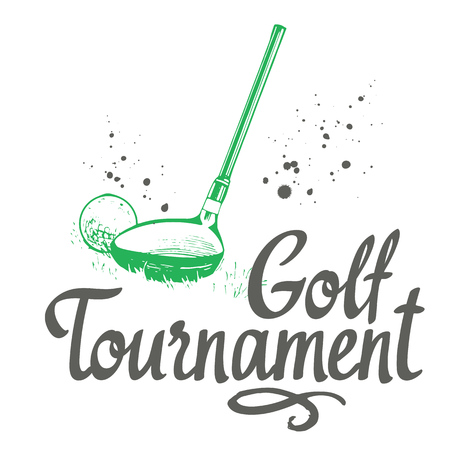 Golf. Vector set of hand-drawn sports equipment. Illustration in sketch style on white background. Brush calligraphy elements for your design. Handwritten ink lettering. Tournament. Çizim