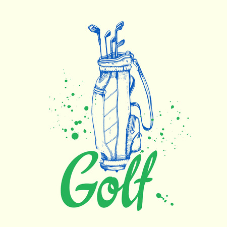 Golf bag. Vector set of hand-drawn sports equipment. Illustration in sketch style on white background. Brush calligraphy elements for your design. Handwritten ink lettering. Illustration