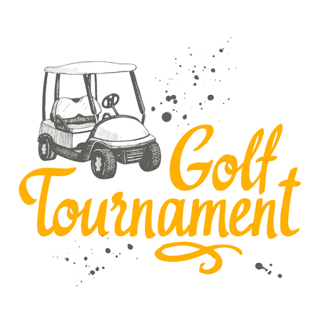 Golf car. Vector set of hand-drawn sports equipment. Illustration in sketch style on white background. Brush calligraphy elements for your design. Handwritten ink lettering. Tournament.