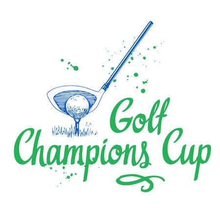 ゴルフ。手描きのスポーツ用品のベクトルを設定します。白い背景の上のスケッチ風イラスト。あなたのデザイン書道素材のブラシ。手書きのイン  イラスト・ベクター素材