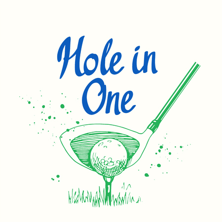 Golf. Vector set of hand-drawn sports equipment. Illustration in sketch style on white background. Brush calligraphy elements for your design. Handwritten ink lettering. Hole in one. Stok Fotoğraf - 84920416