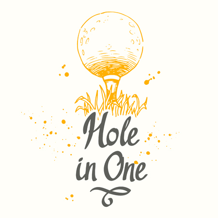 Golf. Vector set of hand-drawn sports equipment. Illustration in sketch style on white background. Brush calligraphy elements for your design. Handwritten ink lettering. Hole in one.