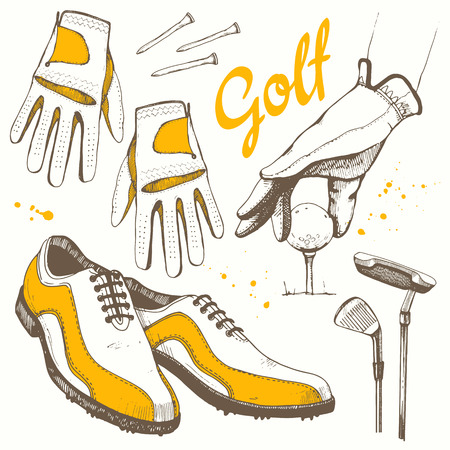 Golf set with basket, shoes, putter, ball, gloves, bag. Vector set of hand-drawn sports equipment. Illustration in sketch style on white background. Handwritten ink lettering. Illustration