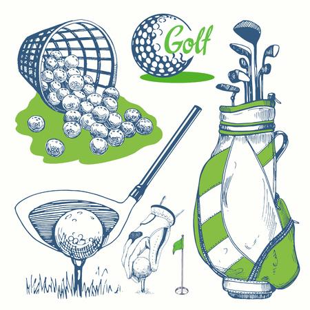 Golf set met mand, schoenen, auto, putter, bal, handschoenen, vlag, tas. Vector set handgetekende sportuitrusting. Illustratie in schetsstijl op witte achtergrond. Handgeschreven inkt lettering.