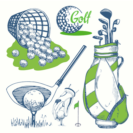 Golf set with basket, shoes, car, putter, ball, gloves, flag, bag. Vector set of hand-drawn sports equipment. Illustration in sketch style on white background. Handwritten ink lettering. Çizim