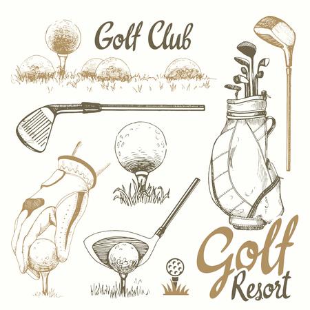 Golf set met mand, schoenen, putter, bal, handschoenen, vlag, tas. Vector set handgetekende sportuitrusting. Illustratie in schetsstijl op witte achtergrond. Handgeschreven inktschrift.