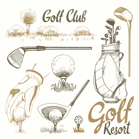 Golf set with basket, shoes, putter, ball, gloves, flag, bag. Vector set of hand-drawn sports equipment. Illustration in sketch style on white background. Handwritten ink lettering. 矢量图像