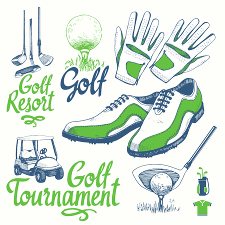 Golf set with basket, shoes, car, putter, ball, gloves, bag. Vector set of hand-drawn sports equipment. Illustration in sketch style on white background. Handwritten ink lettering.