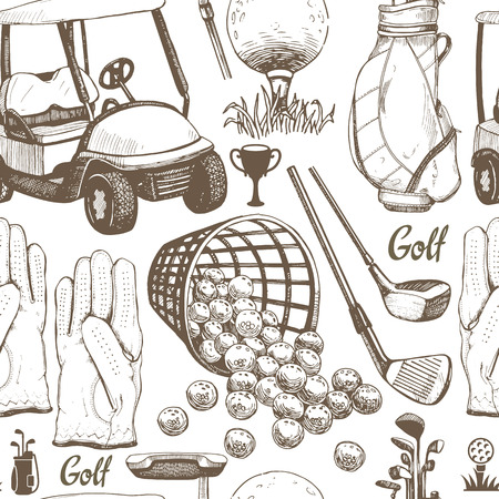 Seamless golf pattern with basket, shoes, car, putter, ball, gloves, bag. Vector set of hand-drawn sports equipment. Illustration in sketch style on white background.