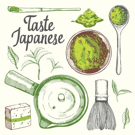 Ceremonia étnica y nacional japonesa del té. Matcha. Tradiciones de teatime. Elementos decorativos para su diseño. Ilustración vectorial con los símbolos del partido sobre fondo blanco.