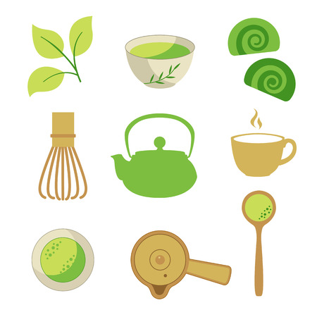 Japanese ethnic and national tea ceremony. Matcha icons set. Traditions of teatime. Decorative elements for your design. Vector Illustration with party symbols on white background. Illustration