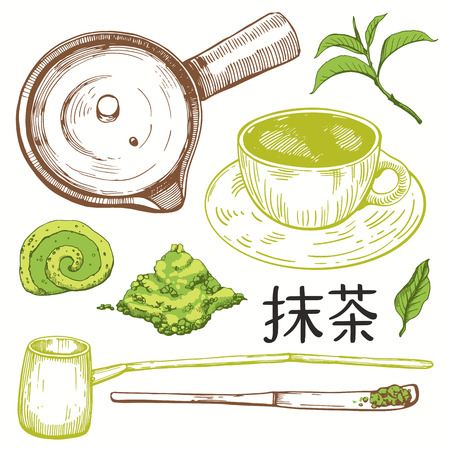 Japanese ethnic and national tea ceremony. Matcha. Traditions of teatime. Decorative elements for your design. Vector Illustration with party symbols on white background.