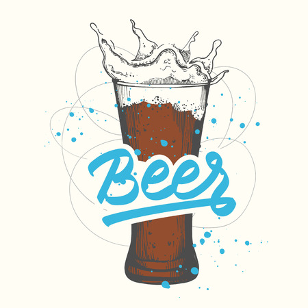 Pub drink . Vector illustration with beer glass in sketch style. Party poster on white background. Handwritten ink lettering.