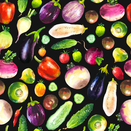 turnip: Watercolor illustration with composition of farm grown illustrations. Seamless pattern on black background. Vegetables set: pepper, cucumber, turnip, radish, eggplant, tomato. Fresh organic food.