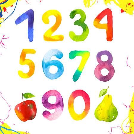Números divertidos del 0 al 9. Mano dibujada por figuras de niños sobre fondo blanco. Estilo de acuarela Foto de archivo - 85037556
