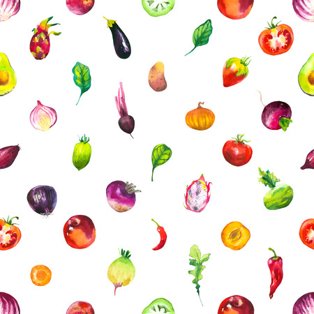 turnip: Watercolor illustration with farm vegetables. Seamless pattern on white background. Set of tomato, eggplant, pepper, apricot, peach, turnip, potato, dragonfruit. Fresh organic food. Stock Photo