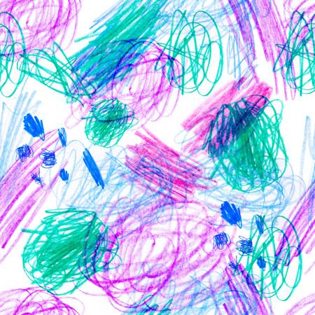 크리 에이 티브 텍스처와 원활한 패턴입니다. 컬러 연필 배경 그림입니다. 연필 줄. 어린이 드로잉.