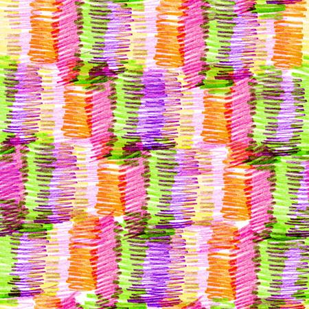 クリエイティブなテクスチャを持つシームレスパターン。色鉛筆の背景のイラスト。鉛筆線。子供の絵。 写真素材