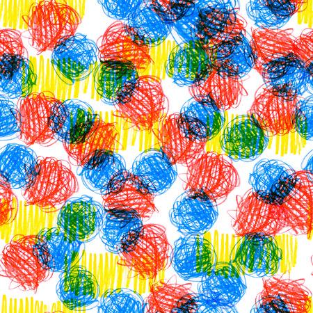 Patrones sin fisuras con una textura creativa. Ilustración del fondo de lápices de colores. Líneas de lápiz. Dibujos para niños. Foto de archivo - 85037568