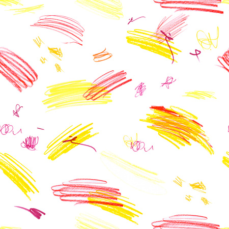 Seamless pattern with a creative texture. Illustration of colored pencils background. Pencil lines. Childrens drawings.