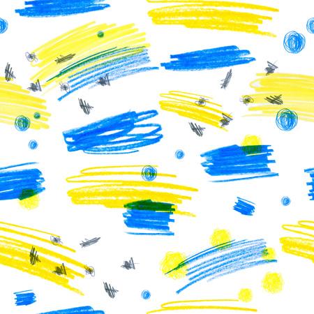 創造的な質感を持つシームレス パターン。色鉛筆背景のイラスト。鉛筆の線。子供の図面。 写真素材