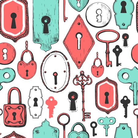 Padrão sem emenda Conjunto de vetores de chaves antigas desenhadas à mão, fechaduras e fechaduras. Ilustração em estilo de desenho sobre fundo branco. Design antigo. Foto de archivo - 85403335