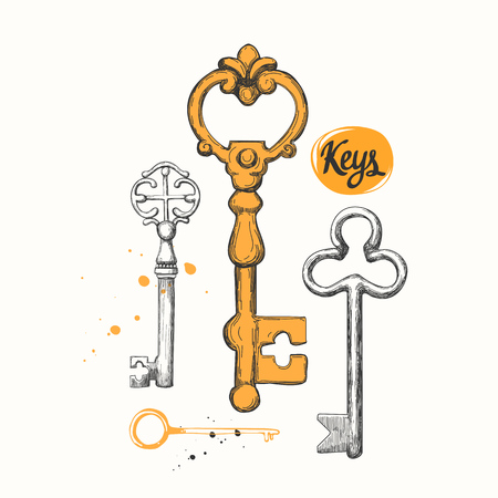 latchkey: Vector set of hand-drawn antique keys. Illustration in sketch style on white background. Old design