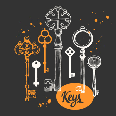 latchkey: Vector set of hand-drawn antique keys. Illustration in sketch style on black background. Old design Illustration