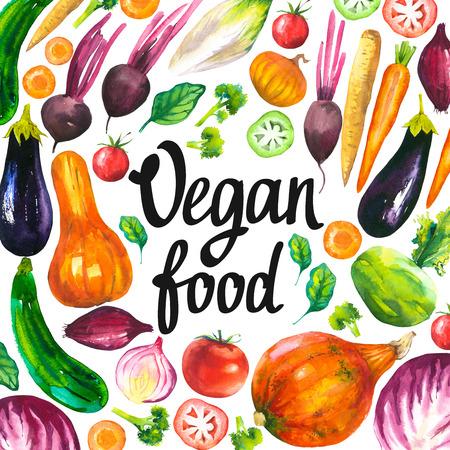 Watercolor illustration with round composition of farm illustrations. Vegetables set: eggplant, pumpkin, zucchini, onion, tomato, broccoli, beets, carrots, cabbage kohlrabi. Fresh organic food. Stock Photo