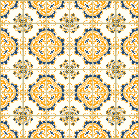 ポルトガルのタイルとのシームレスなパターン。白い背景の上 Azulejo のベクター イラストです。地中海スタイル。青と黄色のデザイン。