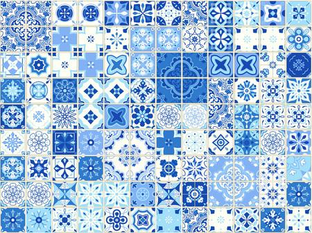 Modèle sans couture avec des carreaux portugais. Illustration vectorielle d'Azulejo sur fond blanc. Style méditerranéen. Design bleu.