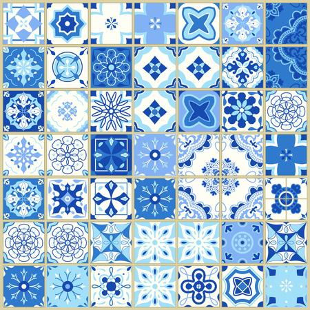 포르투갈어 타일과 원활한 패턴입니다. 흰색 배경에 Azulejo의 벡터 일러스트 레이 션. 지중해 스타일. 파란색 디자인입니다. 일러스트