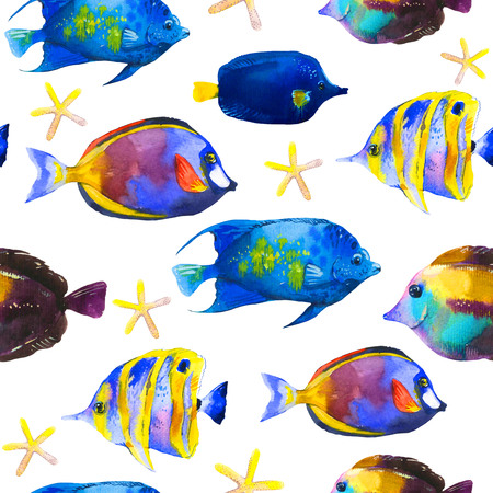 Seamless pattern with tropical fish. Watercolor illustration with hand drawn aquarium exotic fish on white background. Imagens - 85319362