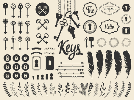 Vector illustration with design illustrations for decoration. Big silhouettes set of keys, locks, wreaths, illustrations, branch, arrows, feathers on white background. Vintage style. Иллюстрация