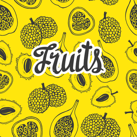 Nature illustration with sketch of fruit. Yellow vector background with watermelon. Tropical food. Hello summer.background with lychee. Tropical food. Ilustração