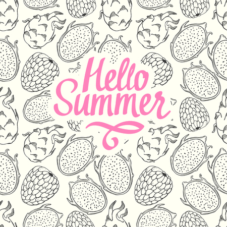Seamless nature pattern with sketch of fruit. Pink and black vector illustration of pitaya on white background. Tropical food. Hello summer.