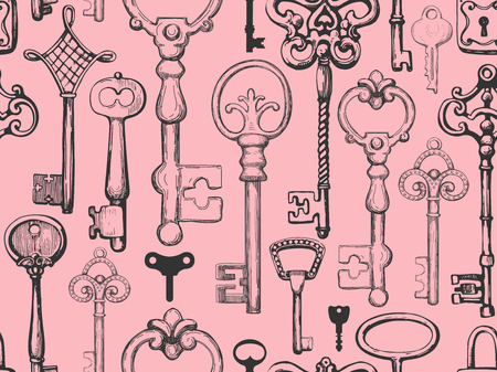 Seamless pattern. Vector set of hand-drawn antique keys, keyholes and locks. Illustration in sketch style on white background. Old design. Ilustrace