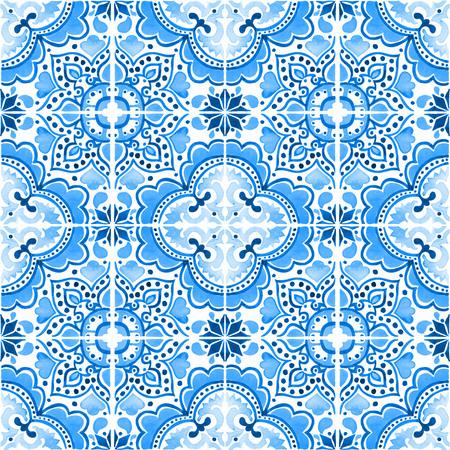 포르투갈어 타일과 원활한 패턴입니다. 흰색 배경에 Azulejo의 수채화 그림입니다. 파란색 디자인입니다. 스톡 콘텐츠