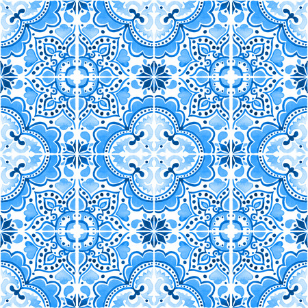 Seamless pattern with with Portuguese tiles. Watercolor illustration of Azulejo on white background. Blue design. Фото со стока