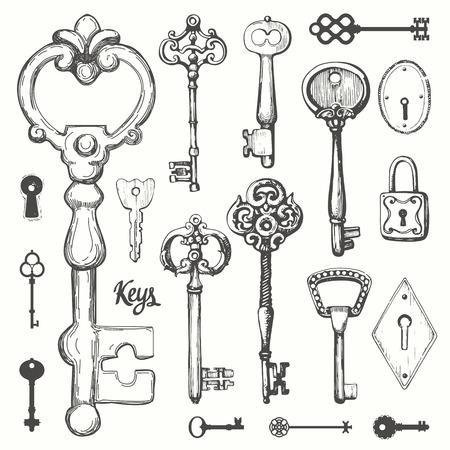 Vector set handgetekende antieke sleutels. Illustratie in schetsstijl op witte achtergrond. Oud ontwerp