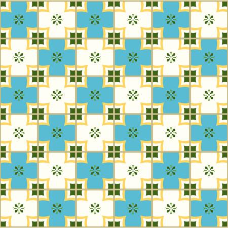 포르투갈어 타일과 원활한 패턴입니다. 흰색 배경에 Azulejo의 벡터 일러스트 레이 션. 지중해 스타일. 파란색과 노란색 디자인입니다.