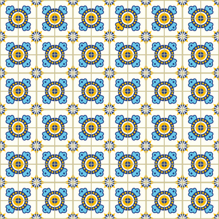 포르투갈어 타일과 원활한 패턴입니다. 흰색 배경에 Azulejo의 벡터 일러스트 레이 션. 지중해 스타일. 파란색과 노란색 디자인입니다. 스톡 콘텐츠 - 86094478