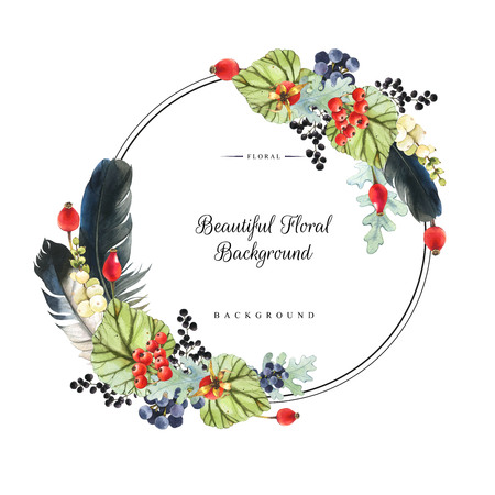 Illustration with watercolor winter berries and plants. Beautiful natural floral composition on black background. Realistic snowberry, feathers, wild rose, grapes and begonia leaves. Round frame. Stock Photo