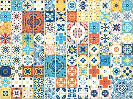포르투갈어 타일과 원활한 패턴입니다. 흰색 배경에 Azulejo의 벡터 일러스트 레이 션. 지중해 스타일. 여러 가지 빛깔의 디자인.