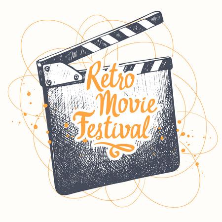 Vector illustration with hand drawn illustration. Sketch design. Retro cinema festival. Movie Time poster.