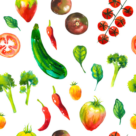 Watercolor illustration with composition of farm grown illustrations. Seamless pattern on white background. Vegetables set: potatoes, turnips, tomato, cucumber, root, onion. Fresh organic food.