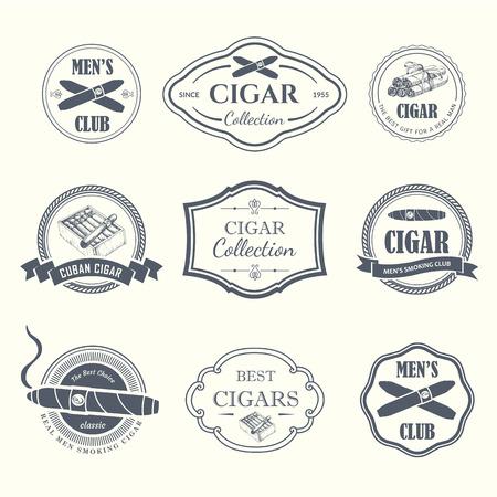 로고와 레이블 벡터 일러스트 레이 션. 간단한 기호 담배, 시가. 연기의 전통. 장식 삽화, 디자인을위한 아이콘입니다. 신사 스타일. 일러스트