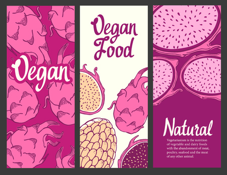 Banners set with sketch of fruit. Pink vector illustration of pitaya on white background. Tropical food.